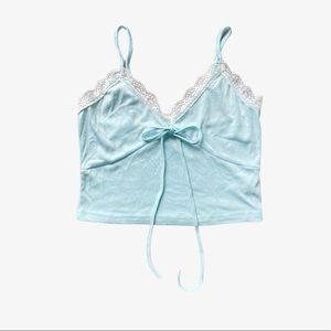 SHEIN Blue Lace Trim Crop Top Dainty